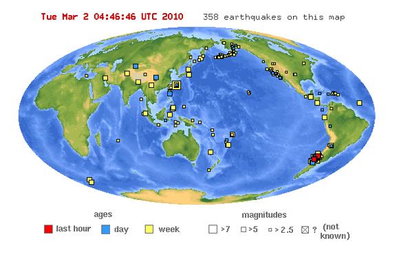 карта землетрясений за неделю