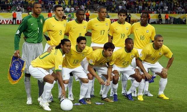 Brazil's national soccer team pose before their Group F World Cup 2006 soccer match against Japan in Dortmund