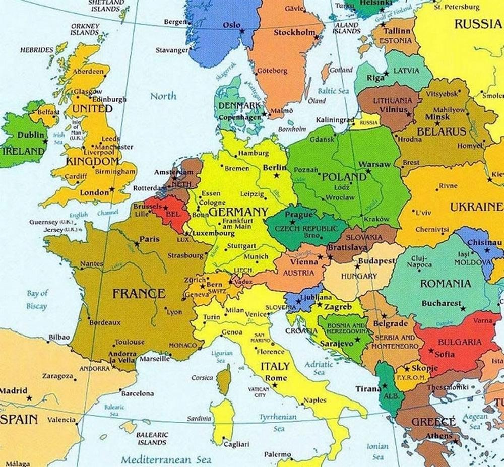 Контуры африки, европы, америки, россии
